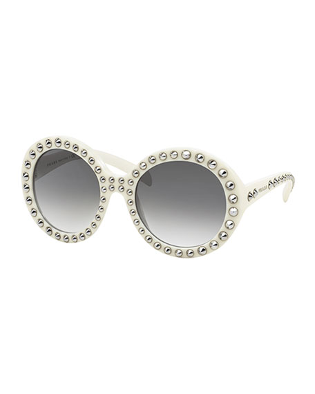 Studded Sunglasses  prada round studded sunglasses ivory