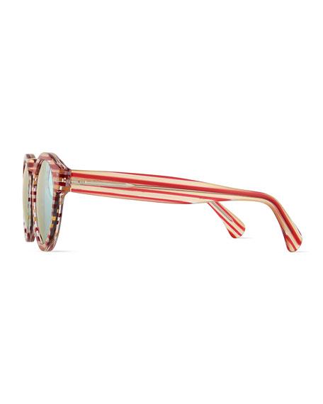 Leonard Mirror Round Sunglasses, Red/White Stripes