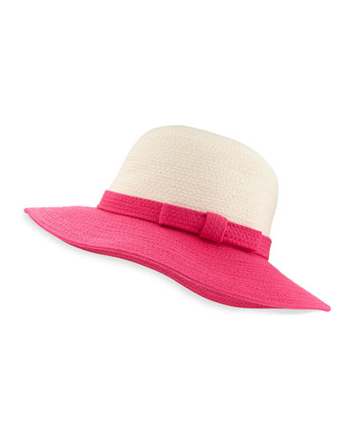 webbing colorblock sun hat, pink/white