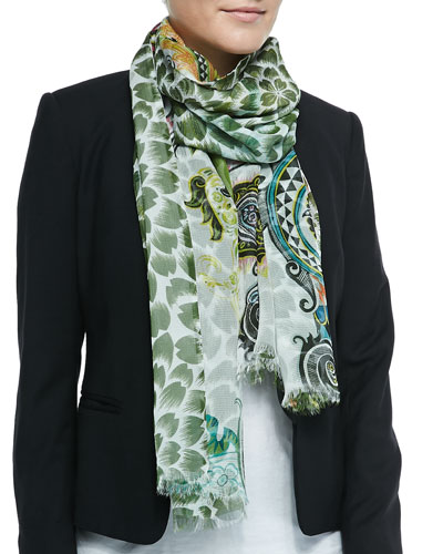 Double-Sided Floral/Paisley Scarf, White