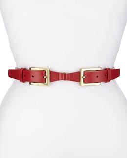 Double-Buckle Belt, Red