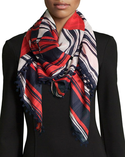Half-Circle Logo Square Scarf, Navy Multi