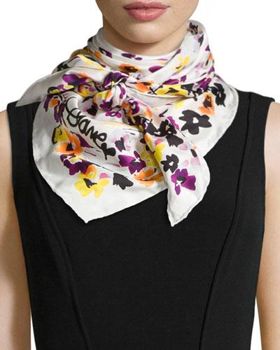 Floral-Print Silk Twill Scarf