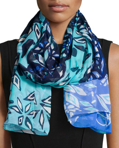 Abstract-Print Washed Chiffon Scarf, Blue Riviera
