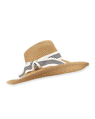 Socialite Stripe-Bow Hat, Natural/White/Black