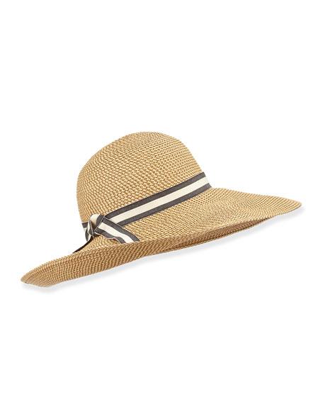 Kristi Ribbon-Trim Skimmer Hat, Peanut
