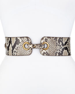 Eyelet Belt in Natural Python