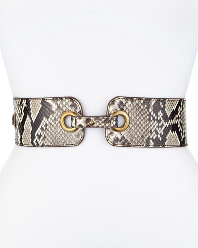 Eyelet Belt in Natural Python