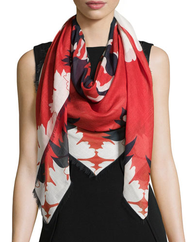 Floral Bloom Skull Scarf, Red/Blue