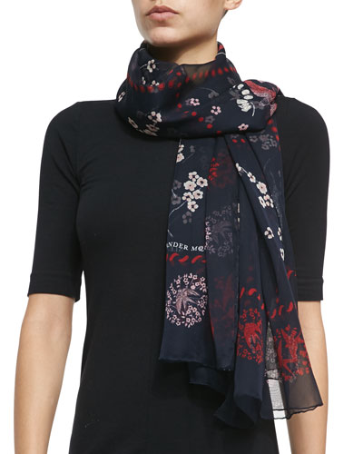 Colorful Swallow Printed Scarf, Blue/Red
