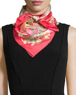 Ginkos Print Foulard Silk Scarf, Red