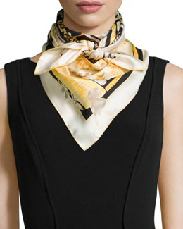 Jardin-Print Foulard Scarf, Black/Yellow