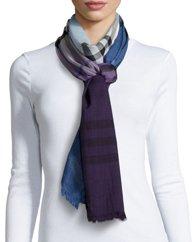 Multi-Ombre Giant Gauze Scarf, Lupin Check