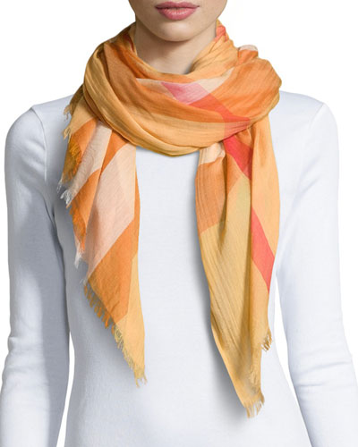 Sheer Mega Check Scarf, Light Copper