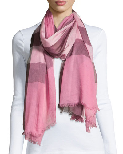 Sheer Mega Check Scarf, Rose Check