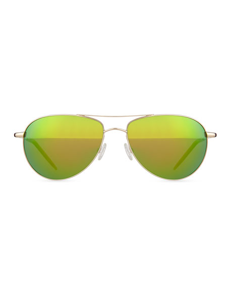 Colored Lens Aviator Sunglasses, Gold/Green