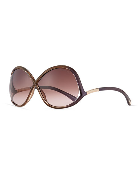 TOM FORD Ivanna Wrap Sunglasses, Havana