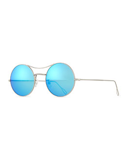 Ros Round Mirror Sunglasses, Silver/Blue