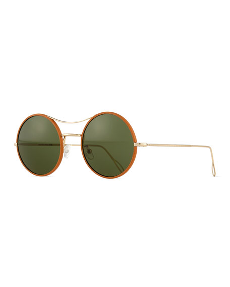KYME Ros Wrapped Round Mirror Sunglasses, Tan/Green