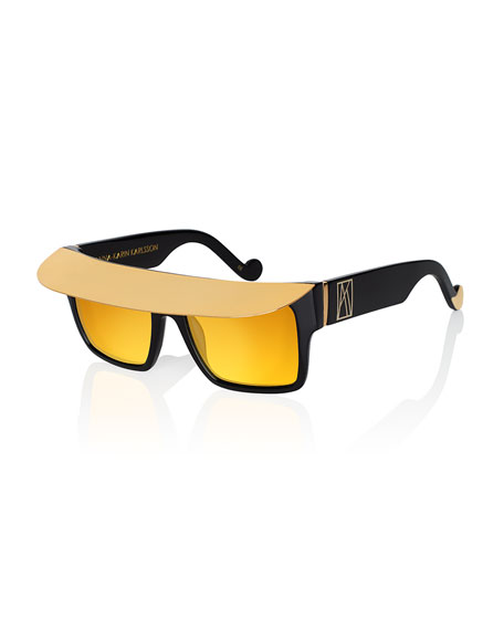 Anna-Karin Karlsson Shady Metal-Brow Square Sunglasses, Gold