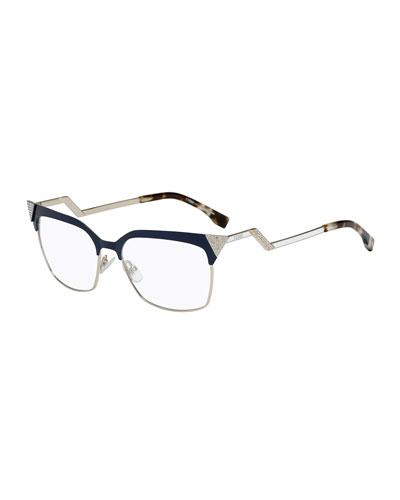 8b2ca4bc3ec5 Fendi Zigzag-Temple Square Fashion Glasses
