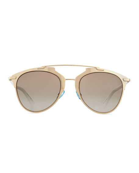 """Dior Reflected"" Two-Tone Aviator Sunglasses, Rose Golden/White"