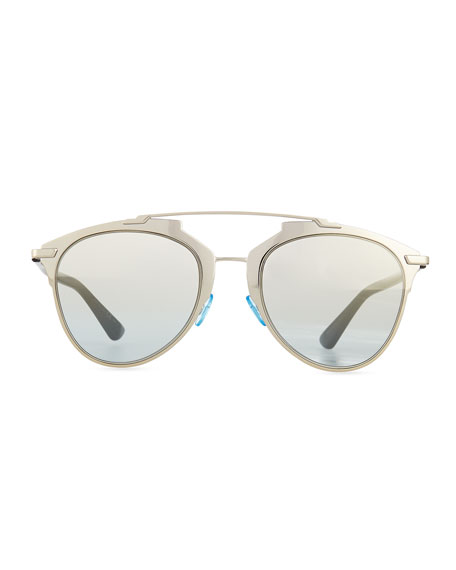 """Dior Reflected"" Two-Tone Aviator Sunglasses, Pale Golden/Black"