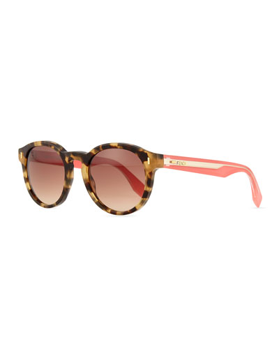Round Contrast-Arm Sunglasses, Brown/Pink