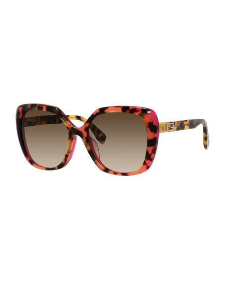 Fendi Universal-Fit Havana Square Sunglasses, Brown/Pink