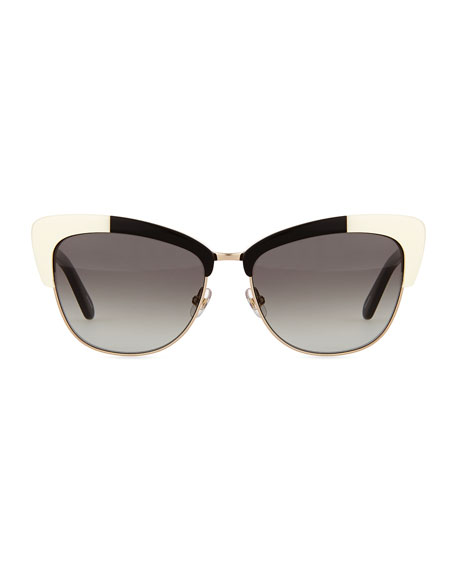 Image 2 of 3: dual-rimmed cat-eye sunglasses, ivory/black