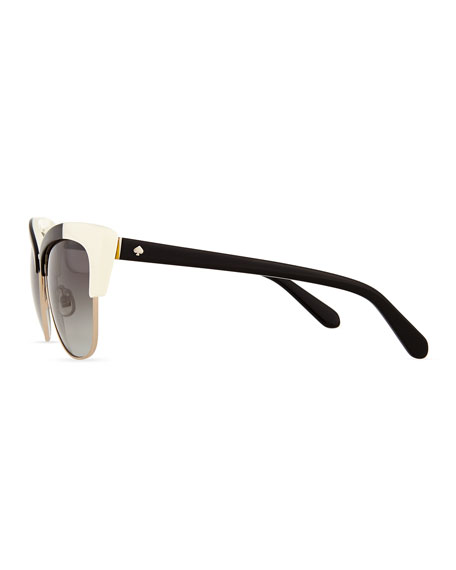 Image 3 of 3: dual-rimmed cat-eye sunglasses, ivory/black