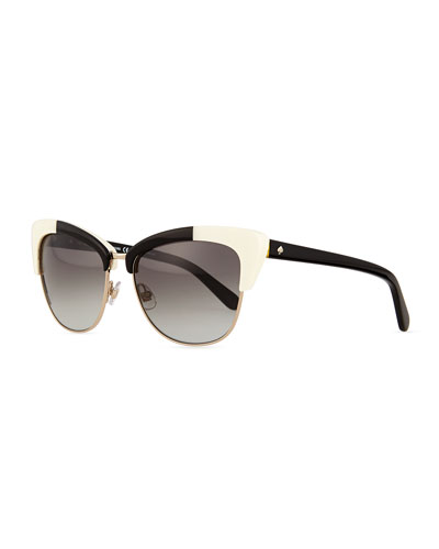 dual-rimmed cat-eye sunglasses, ivory/black