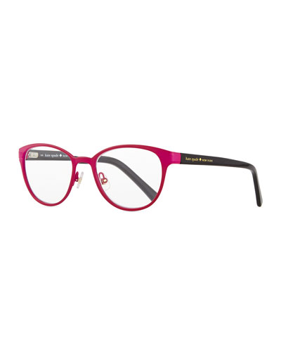 metal reader glasses, pink/black