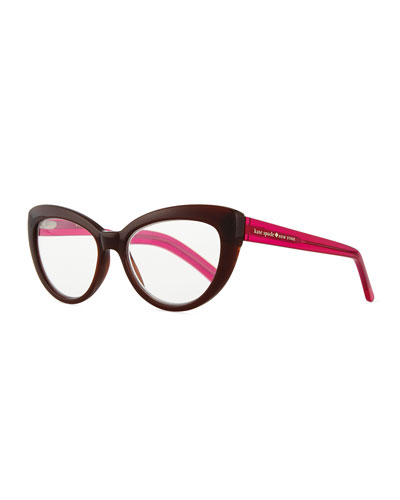 cat-eye reading glasses, brown