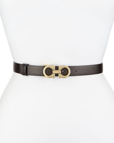2.5cm Reversible Double-Gancini Belt, Brown/Black