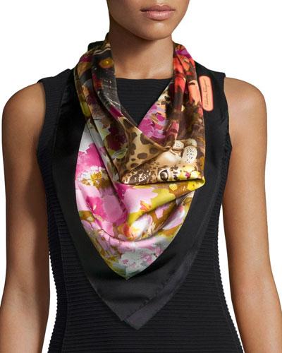 Flower/Leopard-Print Silk Scarf, Multi