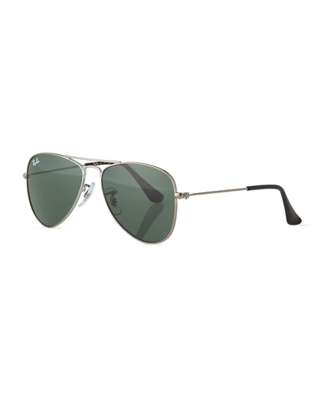 Children's Mirrored Aviator Sunglasses, Silver