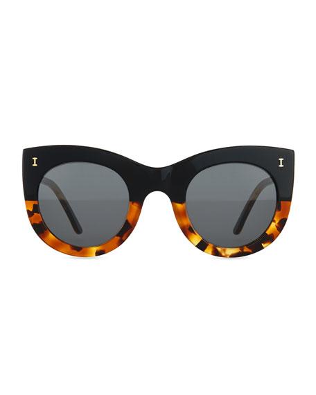 Boca Bicolor Cat-Eye Sunglasses, Black/Tortoise