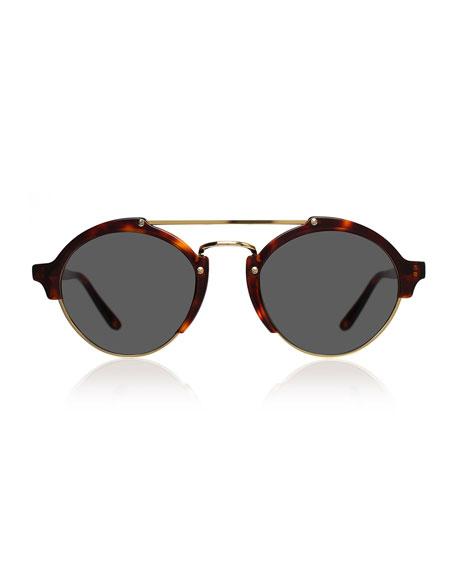 Milan II Round Sunglasses, Havana
