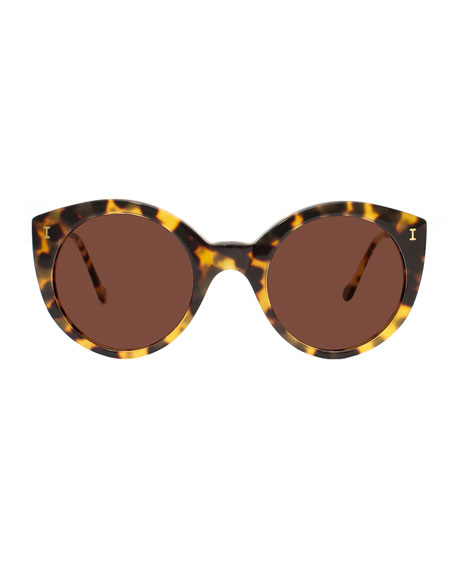 Illesteva Palm Beach Round Sunglasses, Tortoise
