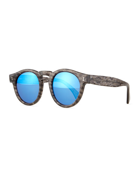 Leonard Round Frost-Pattern Sunglasses with Mirror Lens, Black