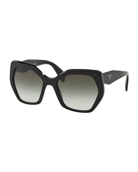 Prada Heritage Hexagonal Sunglasses, Black | Neiman Marcus