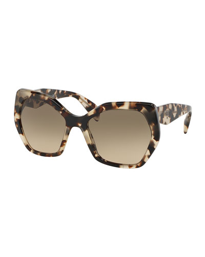 Heritage Hexagonal Sunglasses, Brown/White