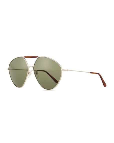 Valentino Mask Two-Tone Aviator Sunglasses, Light Golden