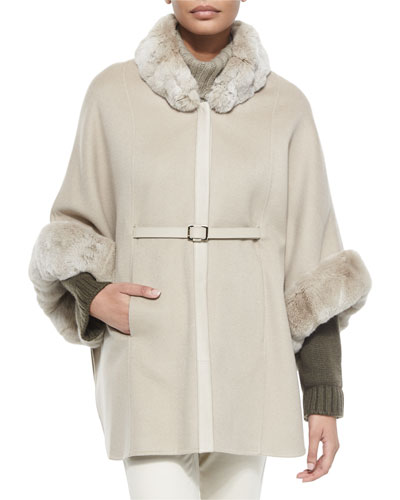 Audrey Fur-Trim Cape, Gold Pepper