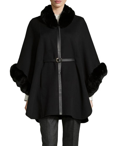 Audrey Fur-Trim Cape, Black
