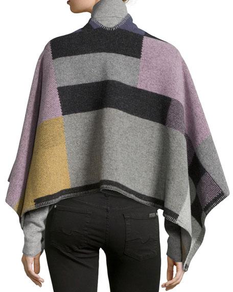 Colorblock Mega-Check Cape, Purple/Pink