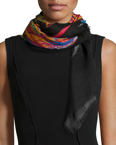 Guinearae Printed Shawl, Black Multi