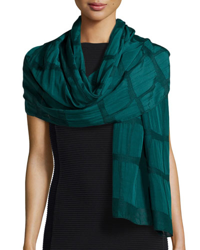 Devore Check Shawl, Green