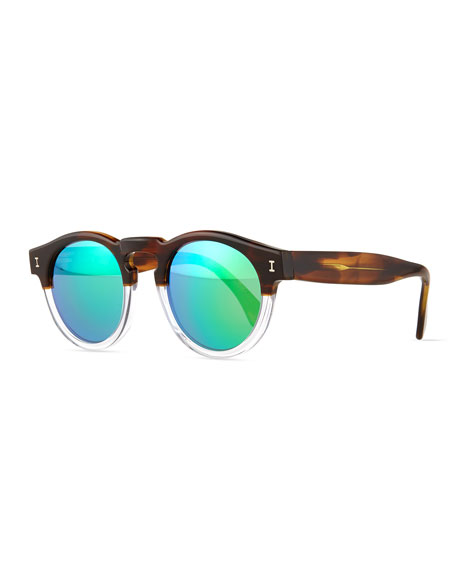 Illesteva Leonard Half-and-Half Mirror Sunglasses